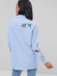 Bordada S Azul Rayas De En El Bolsillo Camisa z0ZqE1