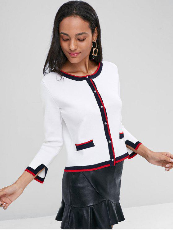 chic Faux Pearl Button Contrast Trims Cardigan - WHITE L