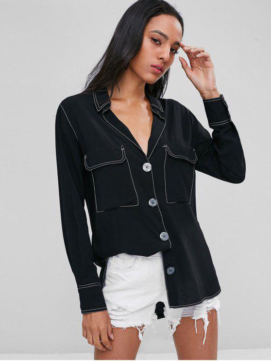 جيوب بطية تباين توبستيتشينج القميص - أسود M