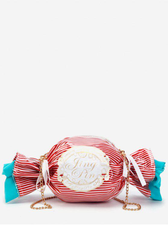 online Contrasting Color Striped Candy Shaped Crossbody Bag - CHESTNUT RED