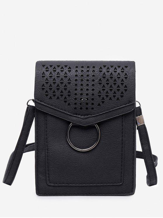 Lazer Multi Função Oco Out Flapped Crossbody Bag - Preto VERTICAL