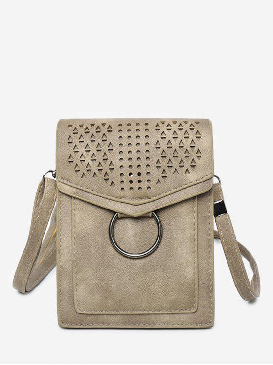 Lazer Multi Função Oco Out Flapped Crossbody Bag - Cáqui Claro VERTICAL