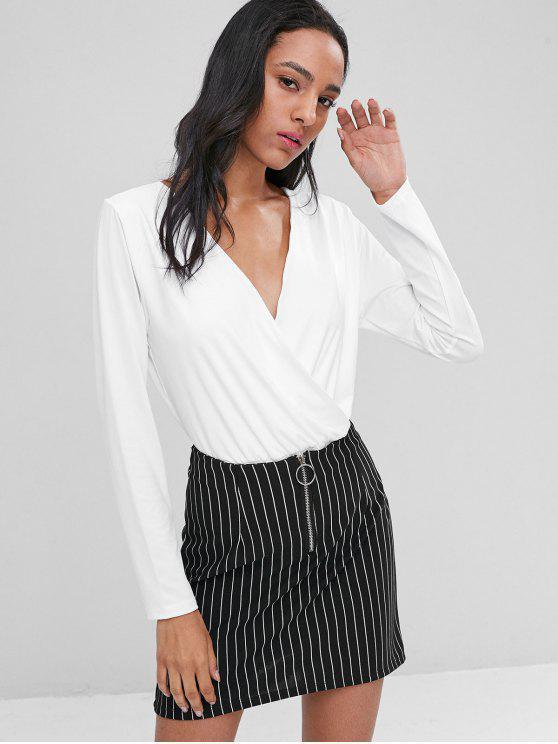 women Keyhole Surplice Bodysuit - WHITE L