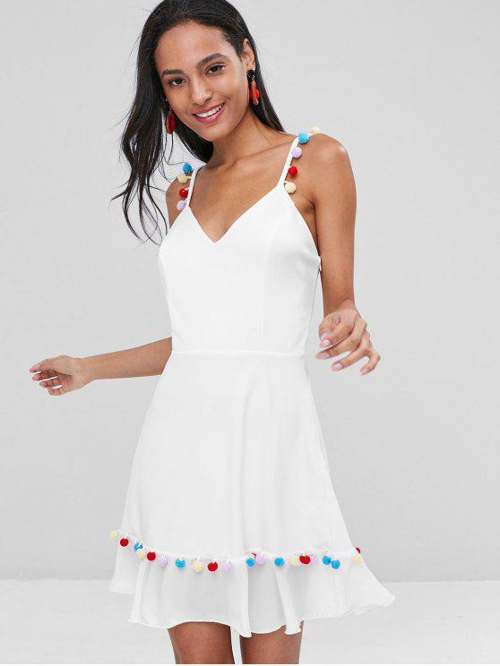 lady Pom Pom Cami Mini Skater Dress - WHITE L
