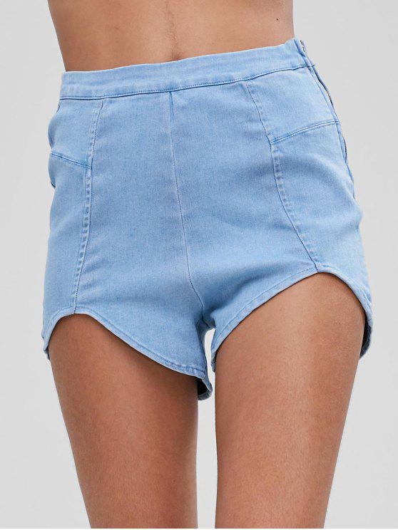 hot Cut Out Hem Denim Shorts - DENIM BLUE L