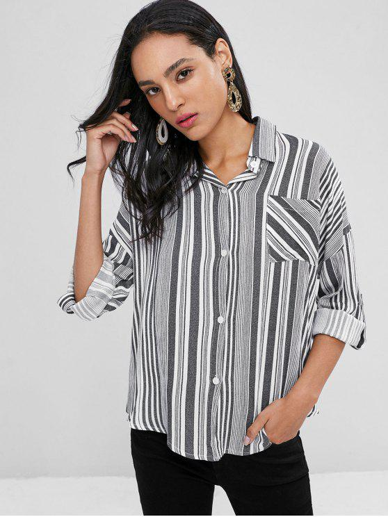 affordable Button Front Striped Shirt - BLACK XL