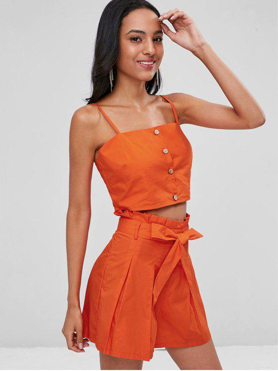 chic Buttoned Crop Top and Shorts Co Ord Set - ORANGE L