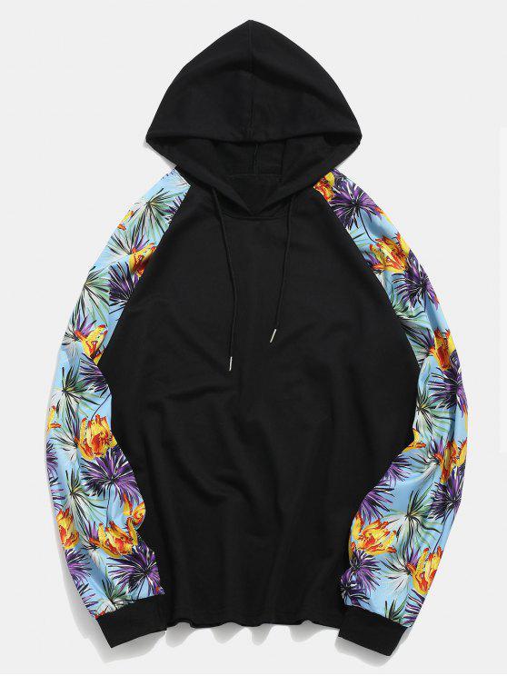 طباعة الأزهار راجلان الأكمام المرقعة هوديي - أسود XL