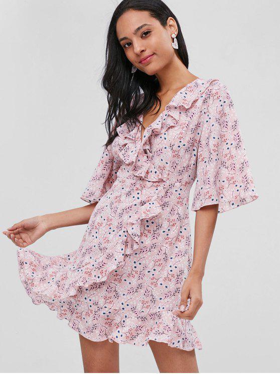 women Ruffles Overlap Floral Dress - PIG PINK M