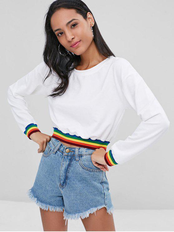 best Rainbow Striped Patched Sweatshirt - WHITE L