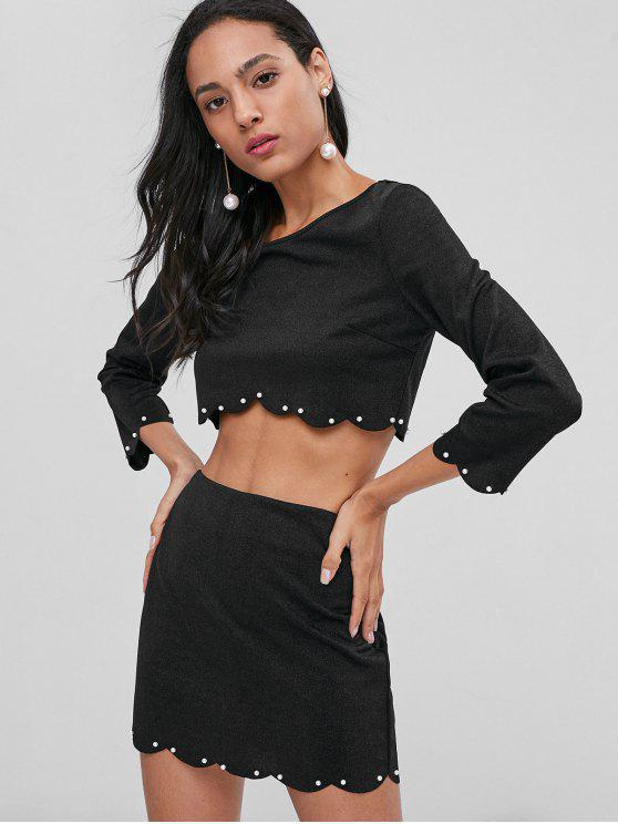 fancy Scalloped Beading Skirt Set - BLACK L