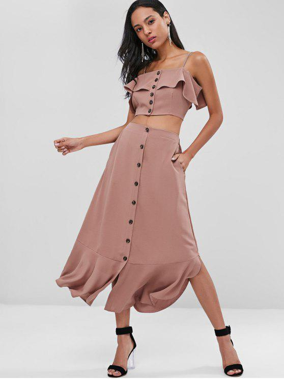 fashion Button Up Top and Ruffles Skirt Set - KHAKI ROSE M