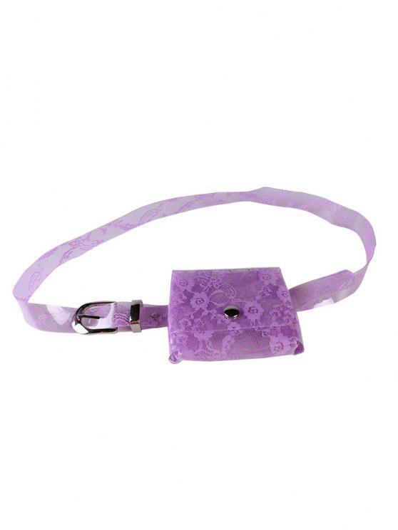 shop Fanny Pack Floral Decorative Transparent PVC Belt - VIOLET