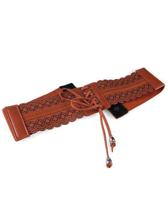 Évider ceinture élastique large rhombus - Marron Camel