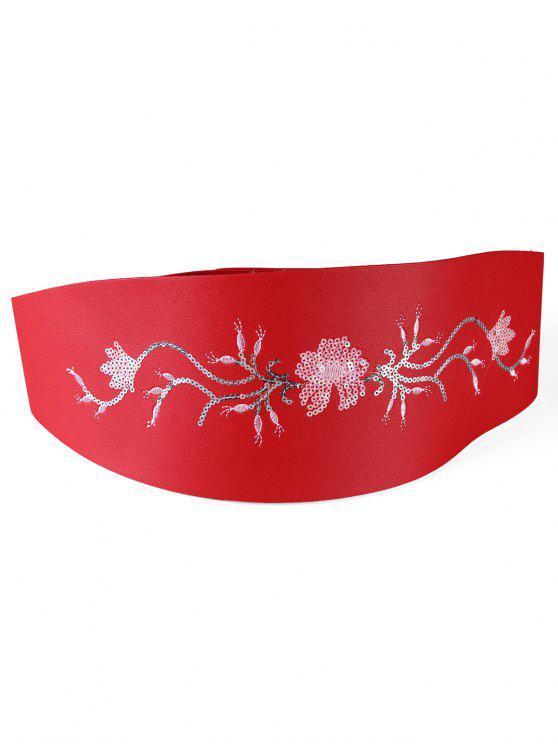 Floral Pailletten dekorativen breiten Hüftgurt - Rot