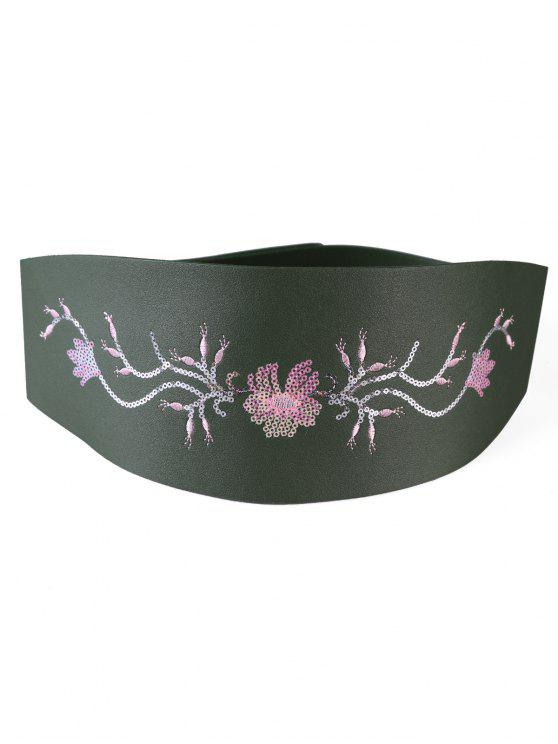 latest Floral Sequins Decorative Wide Waist Belt - MEDIUM SEA GREEN