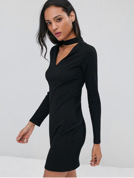 2019 Ribbed Long Sleeve Bodycon Choker Party Dress In Black L Zaful