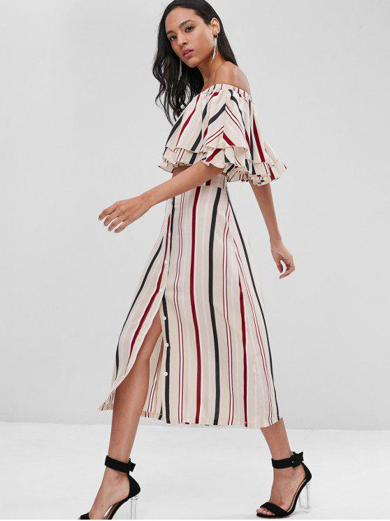 hot Striped Crop Top and Midi Skirt Co Ord Set - MULTI M