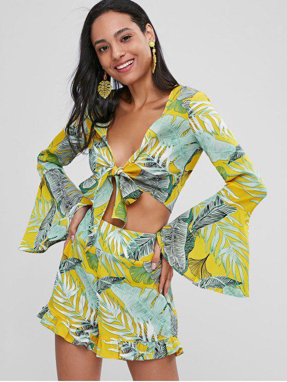 sale Tie Front Palm Leaves Ruffles Shorts Set - MUSTARD L