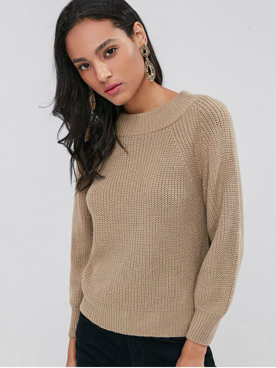Raglanärmel Chunky Sweater - Tan L