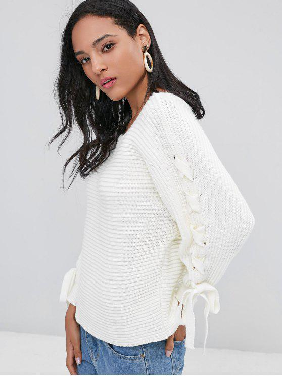 hot Batwing Lace Up Sweater - WHITE ONE SIZE