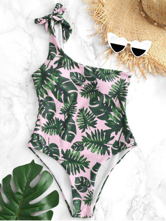 online One Shoulder High Leg Palm Swimsuit - LIGHT PINK M