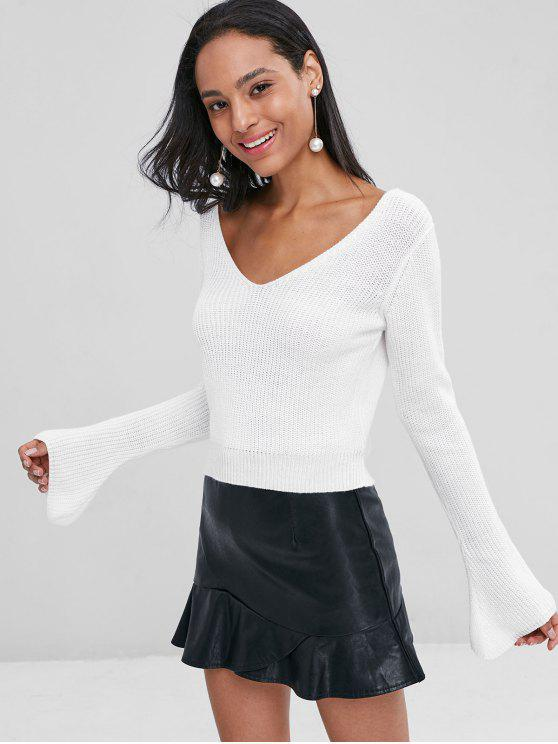 V Neck Cropped Jumper Sweater   White S by Zaful