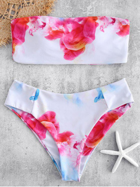women Watercolor High Rise Bandeau Bikini Set - WHITE L