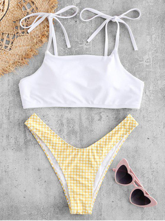 best Plaid Tie Shoulder Cheeky Bikini Set - BRIGHT YELLOW L