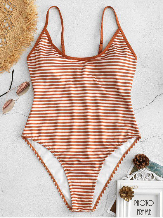 fashion High Cut Striped Cami Swimsuit - LIGHT BROWN S