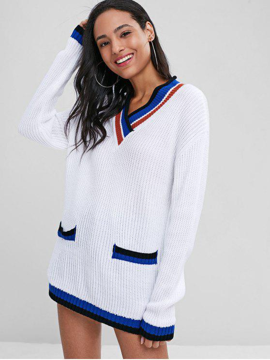 hot Loose Contrasting V Neck Sweater - WHITE M