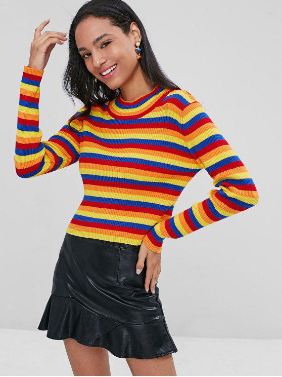 women Striped Ribbed Sweater - MULTI ONE SIZE