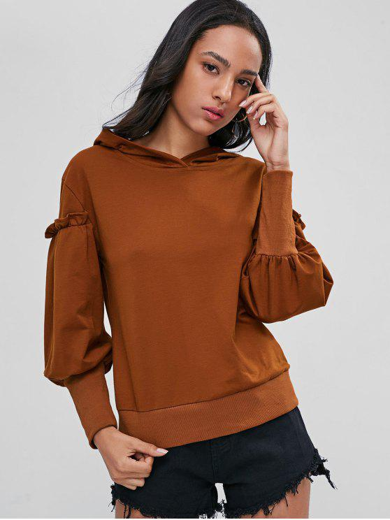 online Ruffles Ribbed Hem Hoodie - LIGHT BROWN S