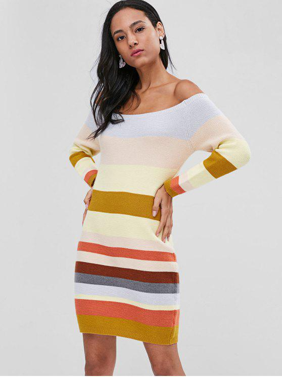 womens Off Shoulder Contrast Sweater Dress - MULTI ONE SIZE