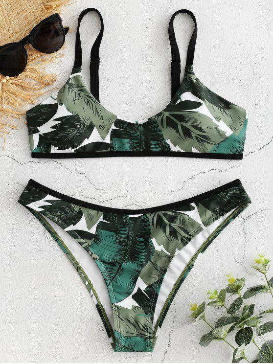 fancy Palm Leaf Print Bralette Bikini - MEDIUM SEA GREEN L