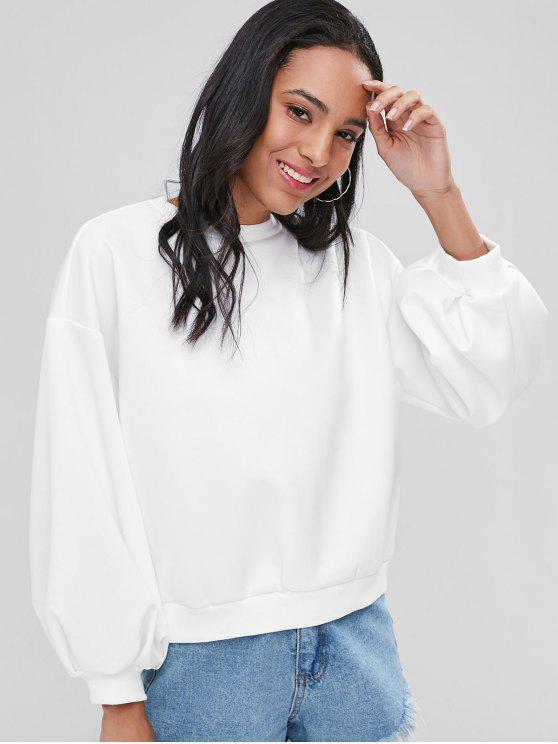 Sweat-shirt Découpé à Manches Lanterne - Blanc L