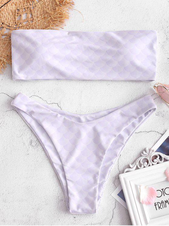 Bikini Bandeau estampado a escala - Azul Lavanda M