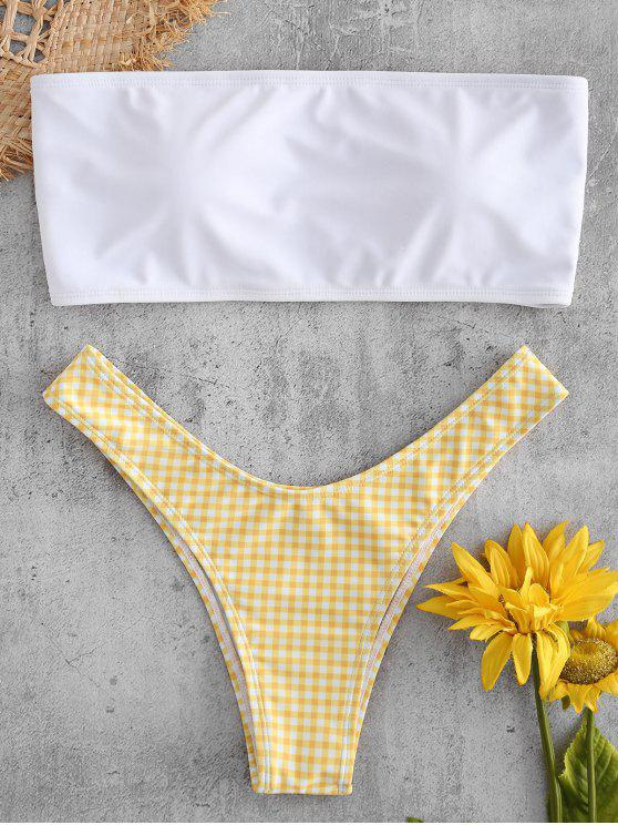 Plaid Bandeau Cheeky Bikini Set - Amarillo Brillante S