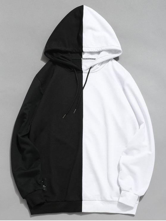 コントラストパッチワークカジュアルパーカー - 白 M