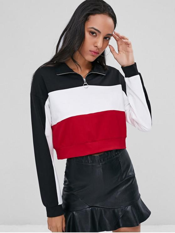 womens Half Zip Contrast Sweatshirt - BLACK L