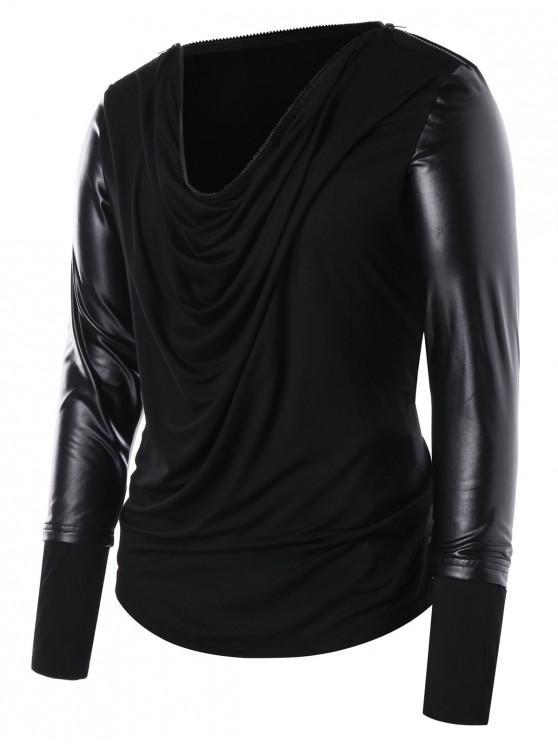 fashion PU Leather Panel Zip Collar T-shirt - BLACK XL