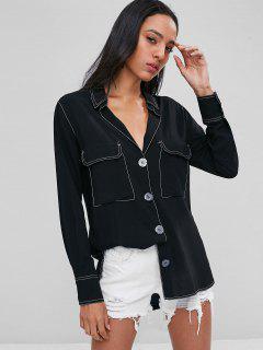 Flap Pockets Contrasting Topstitching Shirt - Black L