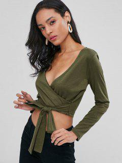 Long Sleeve Faux Wrap Cropped Tee - Army Green S
