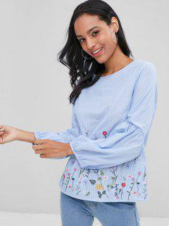 Lantern Sleeve Floral Embroidered Striped Blouse - Blue L