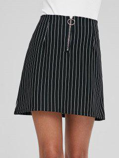 Pinstriped Mini Skirt - Black L