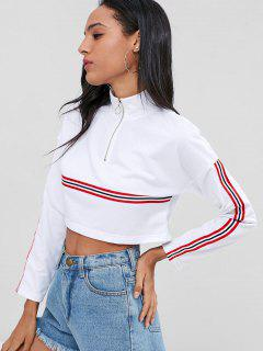 Striped High Neck Zipped Cropped Sweatshirt - White S