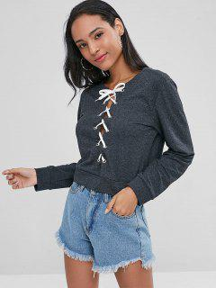 Cropped Lace Up Sweatshirt - Gray Wolf S