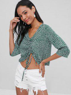 Floral Cinched  Top - Deep Green S