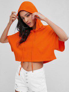 Drawstring Oversized Boxy Cropped Hoodie - Orange M