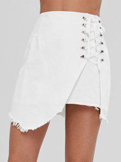 Lace Up A Line Denim Mini Skirt - White L